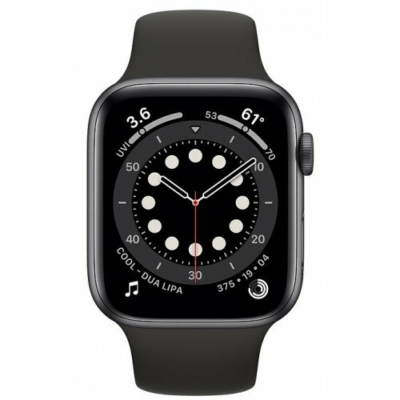 Apple Watch Series 6 44mm Space Gray Al. Case Black Sport Band