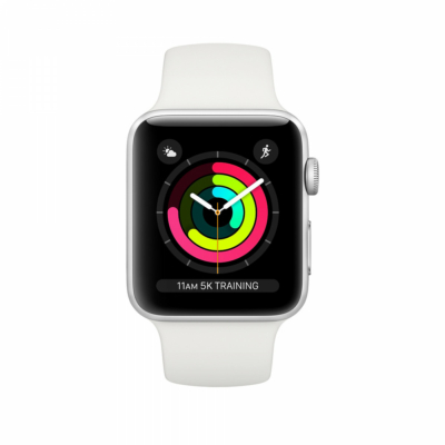 Apple Watch Series 3 38mm Silver White Sport Band