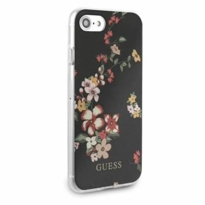 Guess iPhone SE 2020/8/7 Flower Black Hard Case