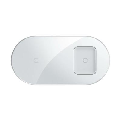 Baseus Simple 2in1 vezeték nélküli telefon és airpods Qi töltő 18W fehér