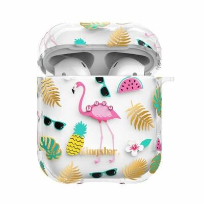 Kingxbar AirPods Szilikon tok Swarovski berakással Flamingós