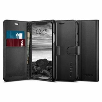 Spigen Wallet fekete iPhone X / XS