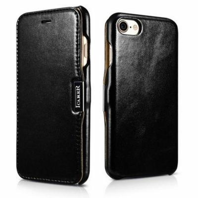 iCarer Bőr fekete tok iPhone 7 Plus / 8 Plus