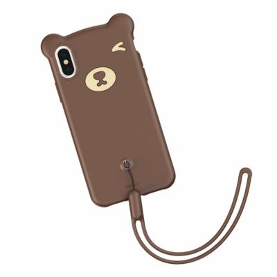 Baseus Bear Csuklópántos tok barna iPhone XS