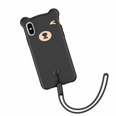 Baseus Bear Csuklópántos tok fekete iPhone X