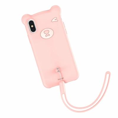 Baseus Bear Csuklópántos tok rózsaszín iPhone XS